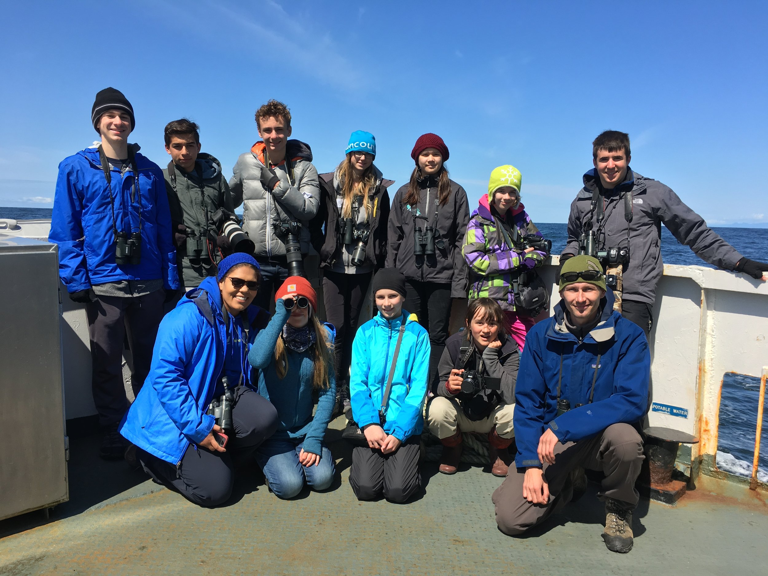 Melissa Hafting (front row, far left) with the BC Young Birders group she leads.