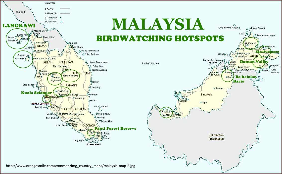 Birding sites circled in green across Malaysia. Courtesy Wendy Chin.