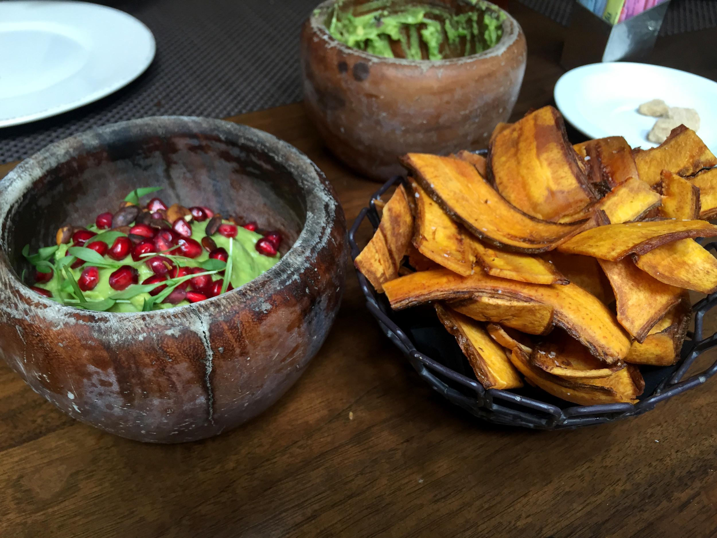 Guacamole and Plantain Chips at Toca Madera