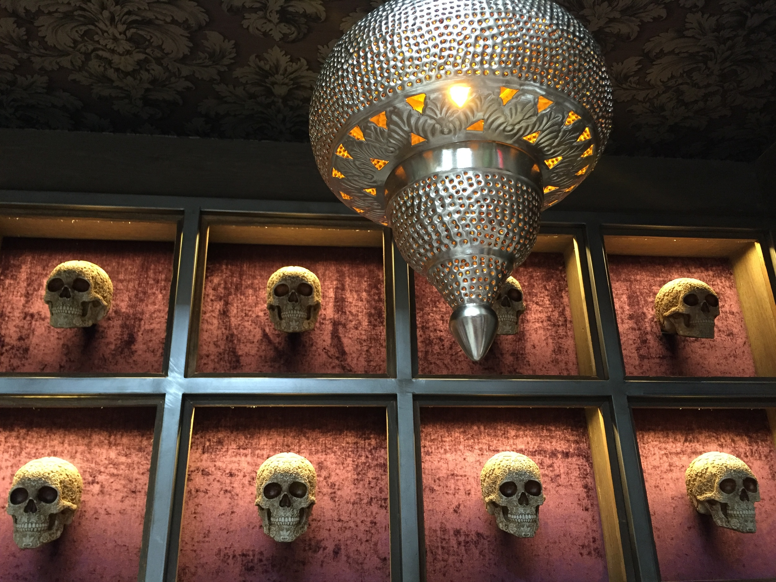 Skull wall at Toca Madera on thegildedbellini.com