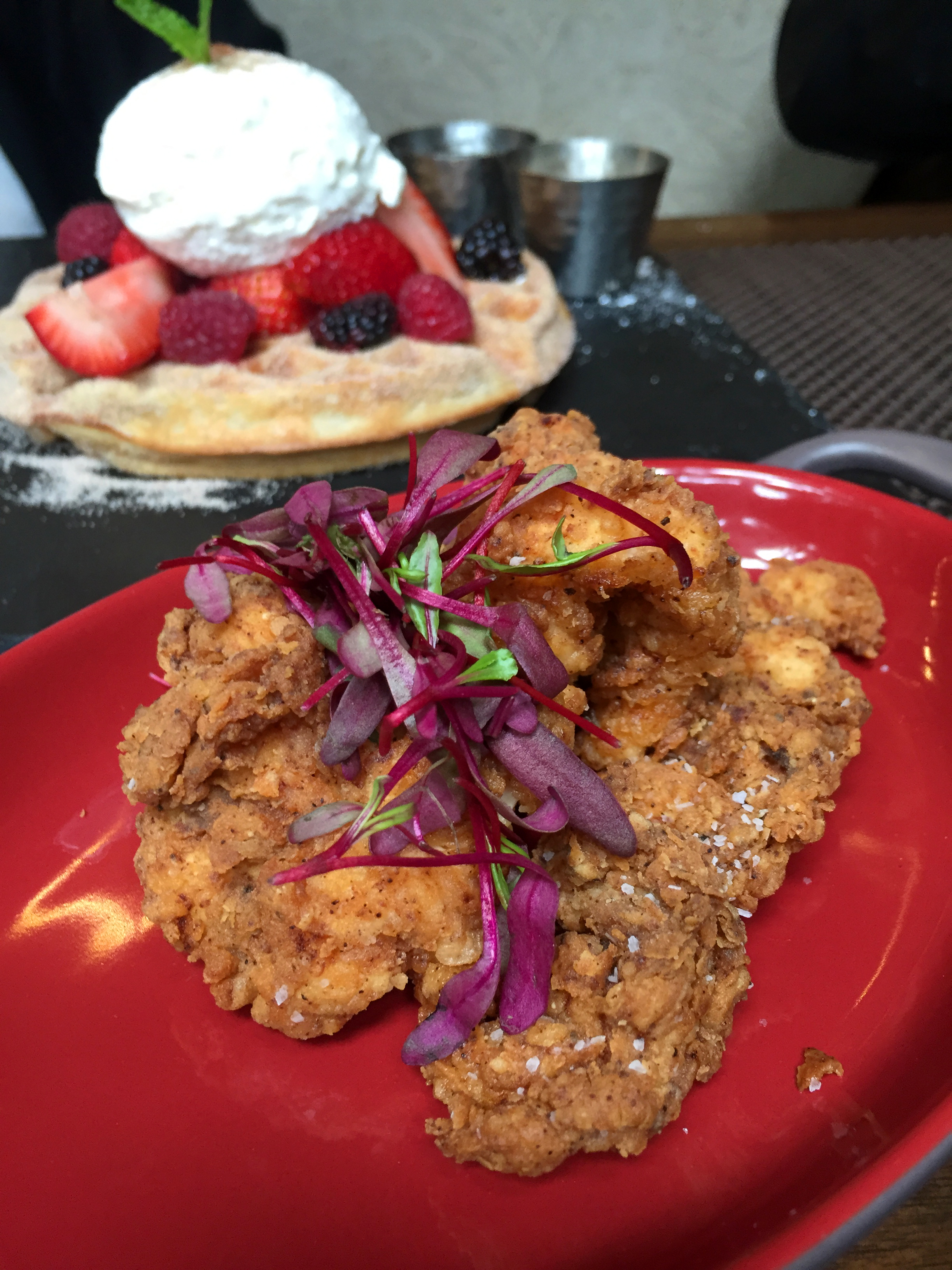 Churro Waffle and Fried Chicken at Toca Madera on The Gilded Bellini