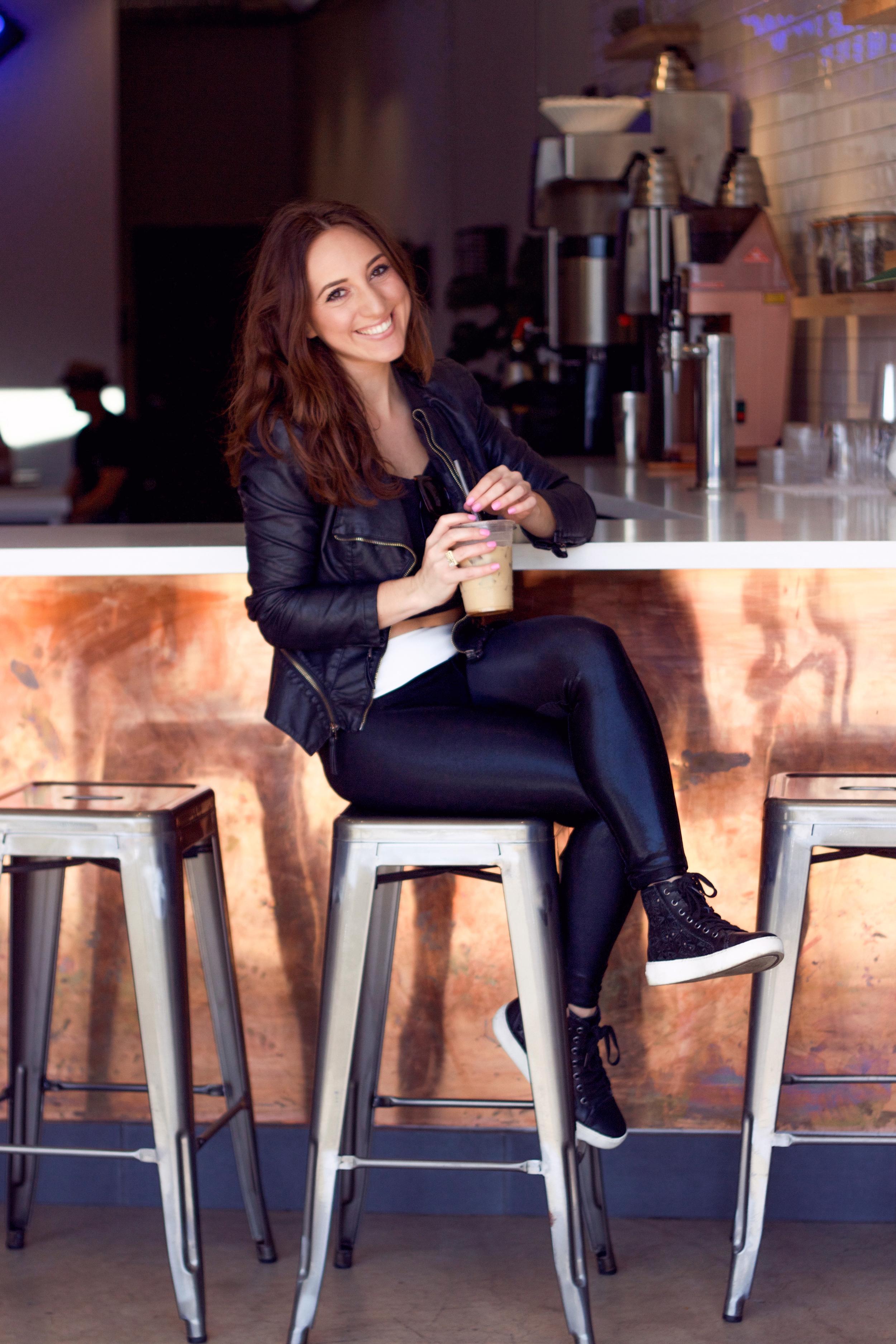Brielle Galekovic in SukiShufu Leatherback Leggings on The Gilded Bellini - thegildedbellini.com
