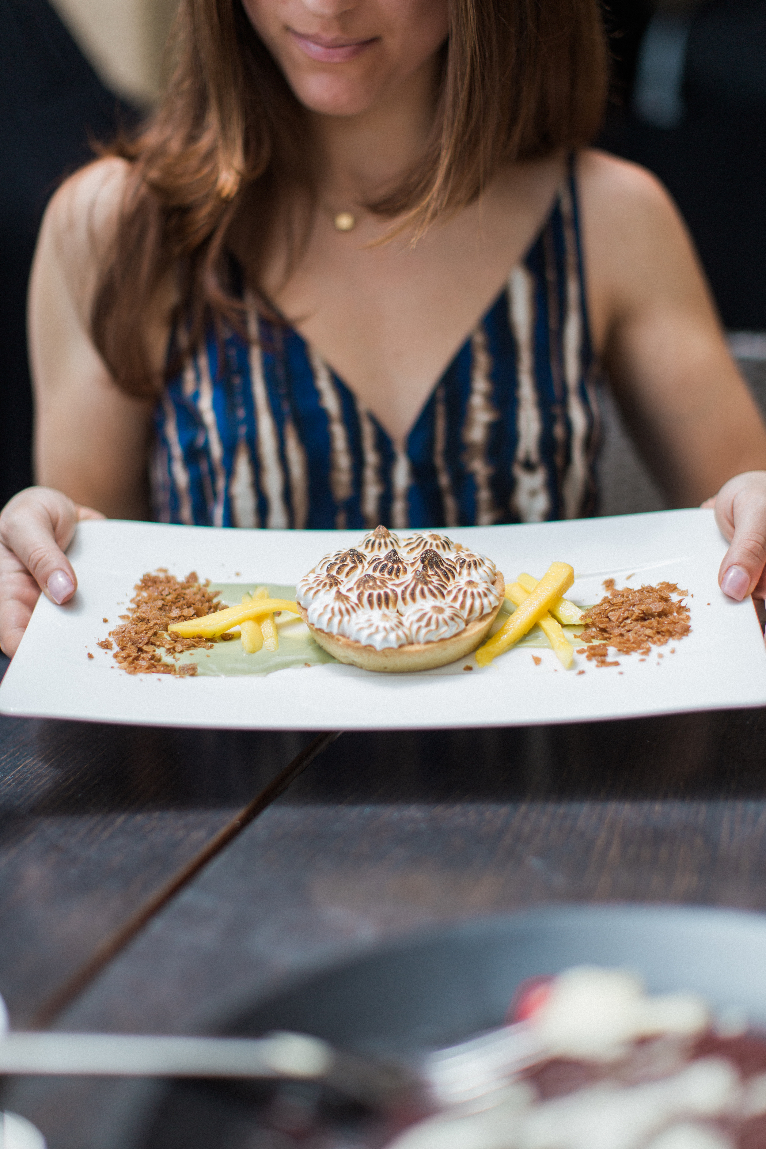 Brielle Galekovic with Mango Meringue Tart at Splashes in Laguna Beach
