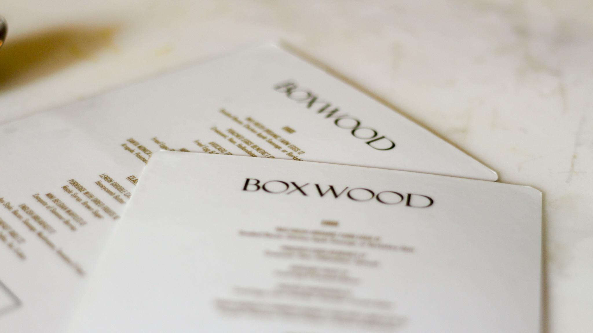 Boxwood at The London menus