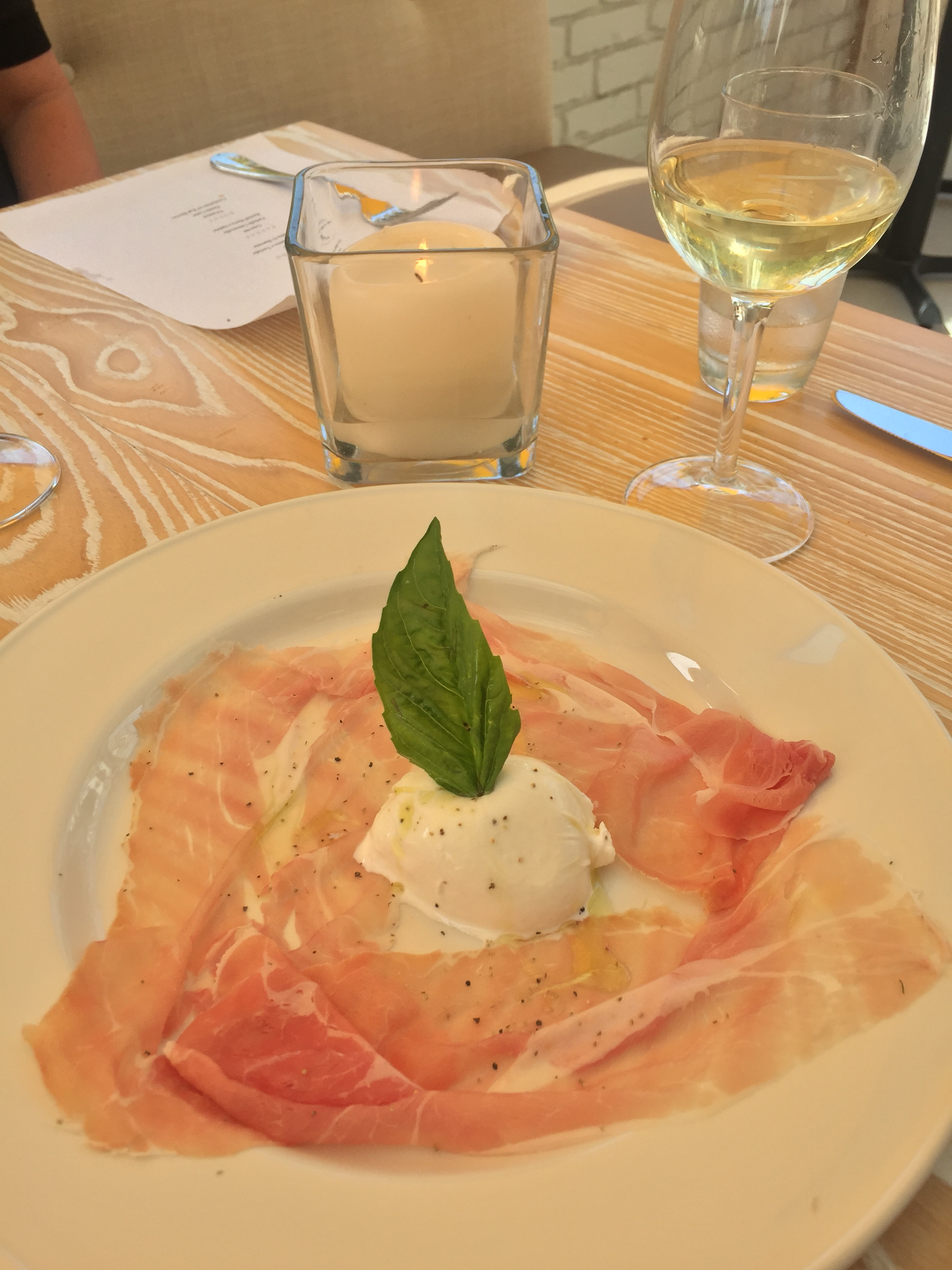 Prosciutto and Burrata at Serafina Sunset