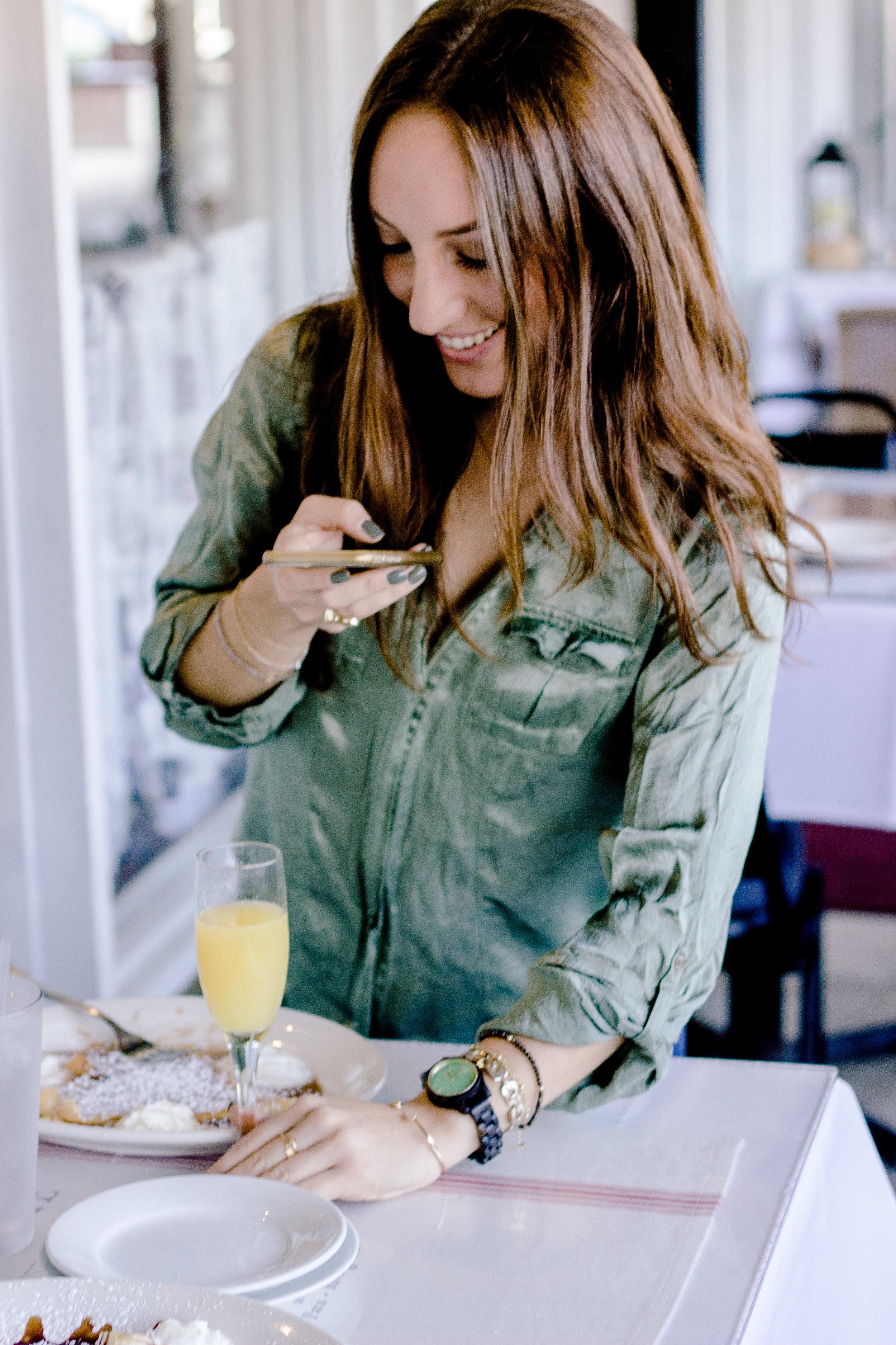 Brielle Galekovic of The Gilded Bellini wearing Frankie 35 series JORD Wood Watches