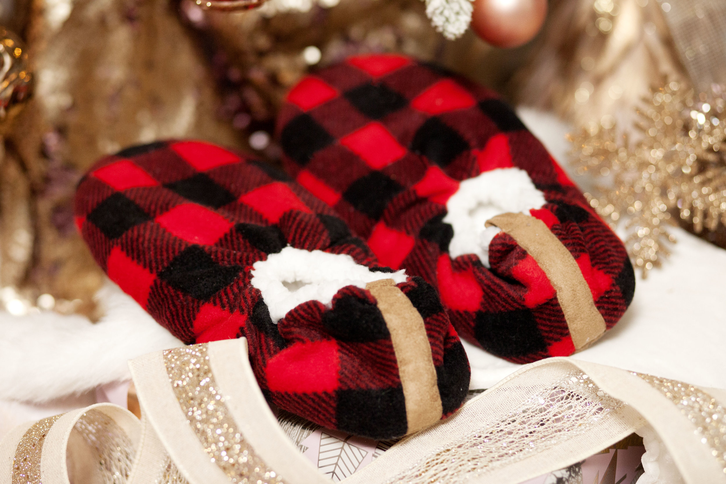 Fuzzy Baba Plaid Slippers - The Gilded Bellini Holiday Gift Guide