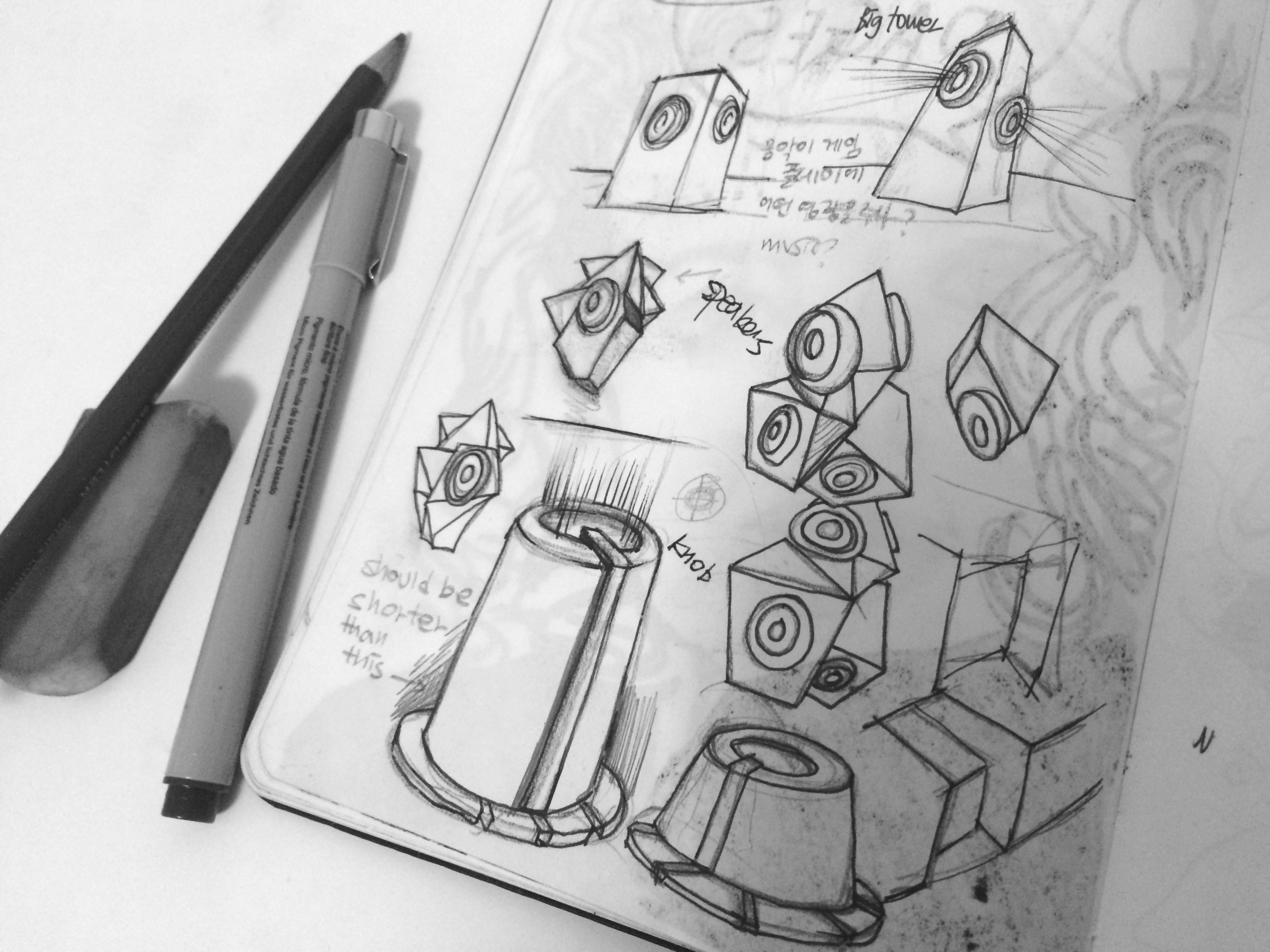 Sketch for knobs and speaker