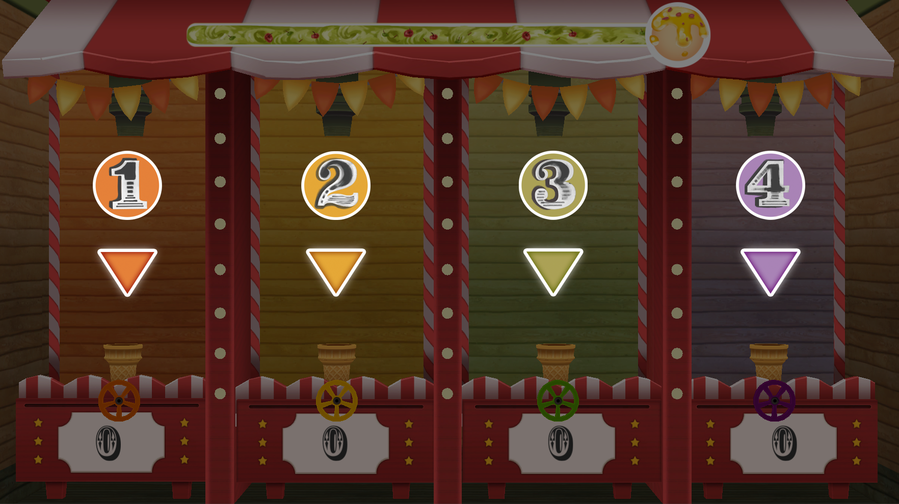 Scoop God is a multiplayer game that allows up to 4 players. Each players have a slot on the screen, which represented as a number and color.