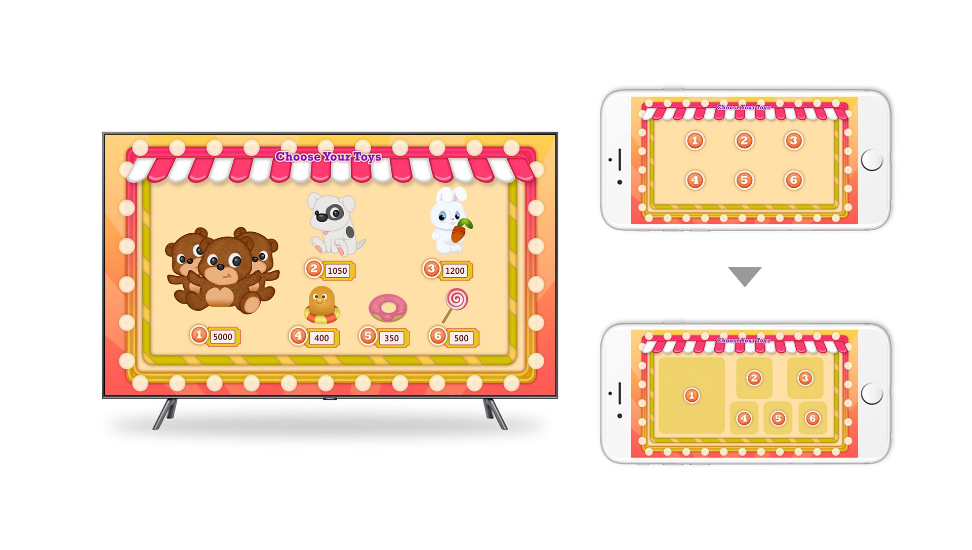 Gift store UI on TV and Mobile. I matched the UI layout on TV screen and controller for young kids who can't read numbers can easily choose what to buy.