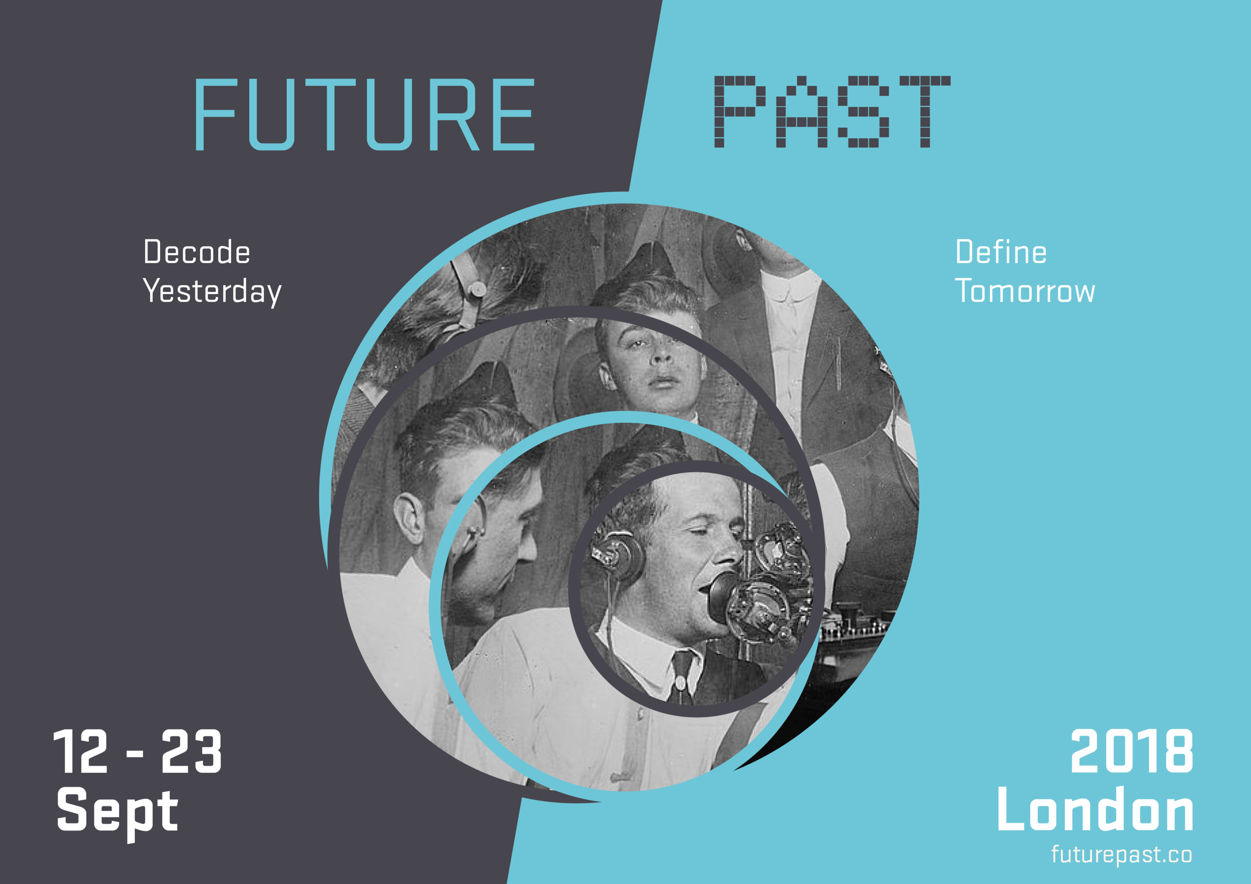 Poster for an event which looks to the past to understand the future