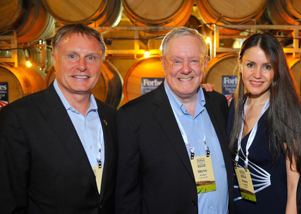 SVG Partners CEO John Hartnett, Forbes Media Chairman and Editor-in-Chief Steve Forbes, and Nuritas Founder and Chief Scientific Officer Nora Khaldi at the Forbes Reinventing America: The AgTech Summit, July 8, 2015.    A high resolution version of this photo will be available temporarily for download from  this link .