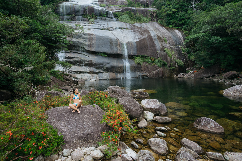Cooling off time at Janokuchi Waterfall, Yakushima Island, Japan.