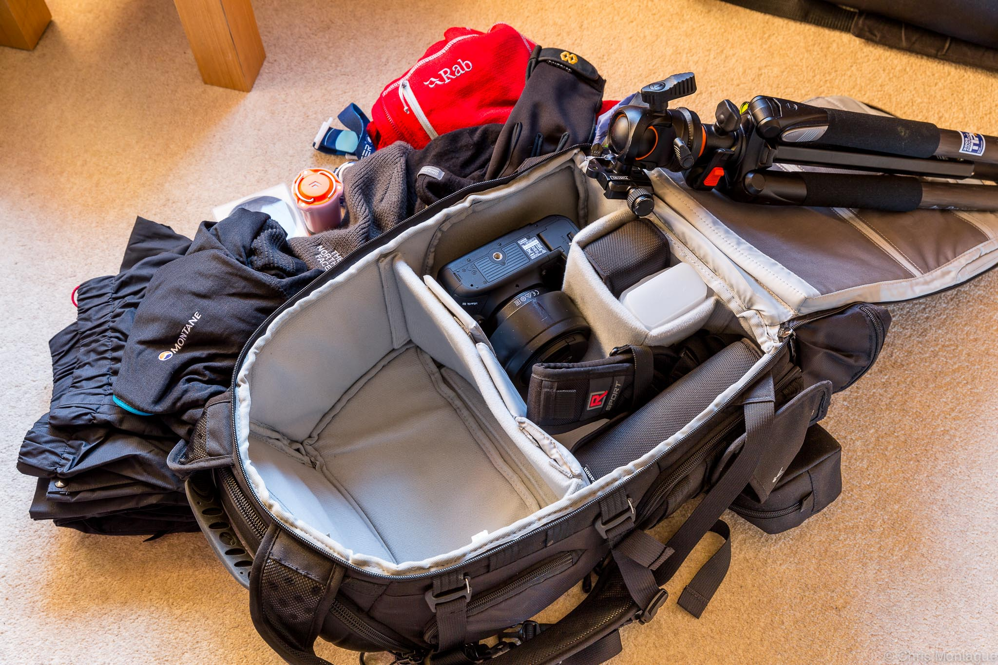 Figure 3: Unpacked, my empty re-configured for walking, ProTactic 450 AW. All the gear outside it fits comfortably in the top section, as shown in Figure 4.
