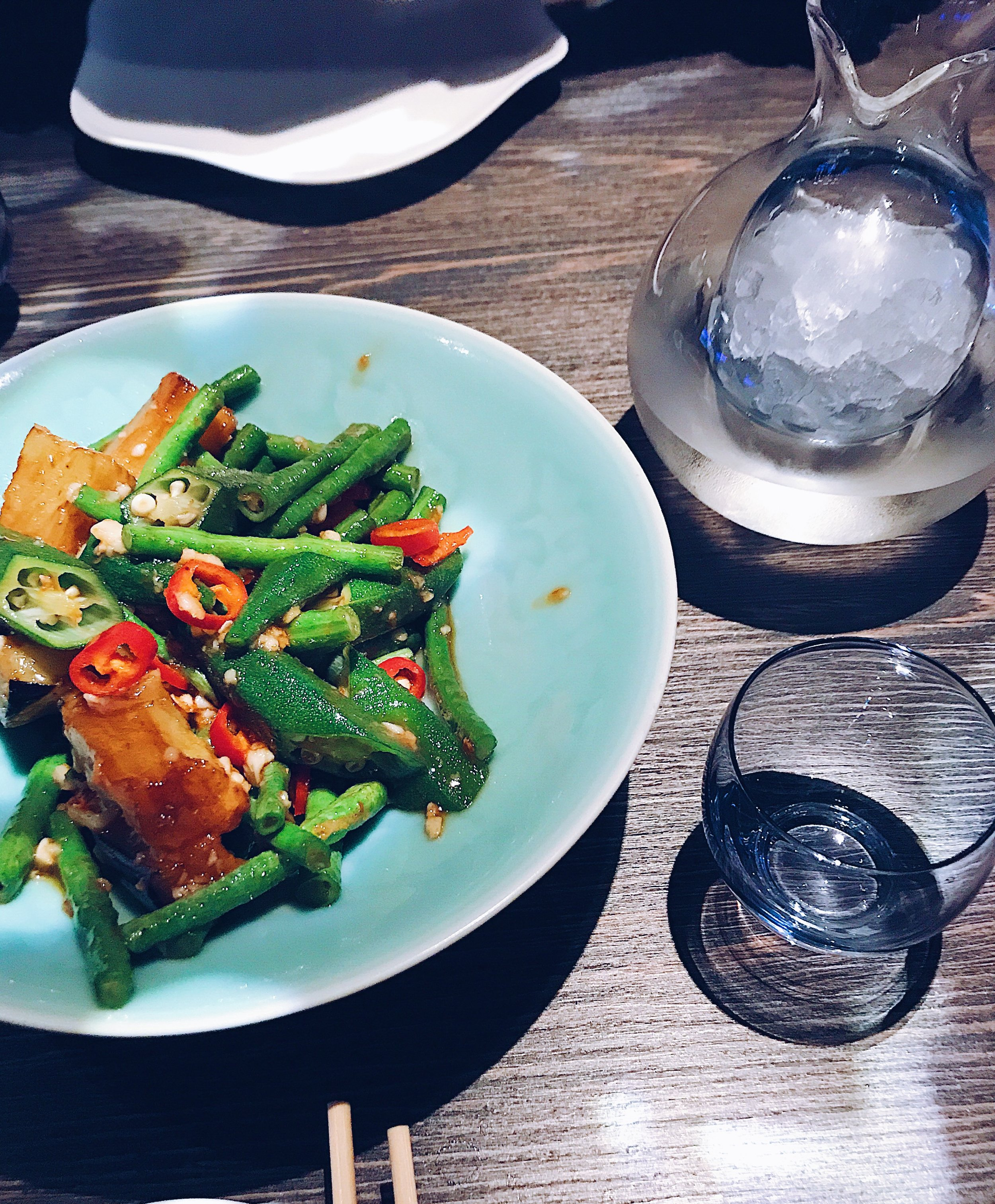 Crispy Glazed Tofu with Green Beans and Okra, Saké