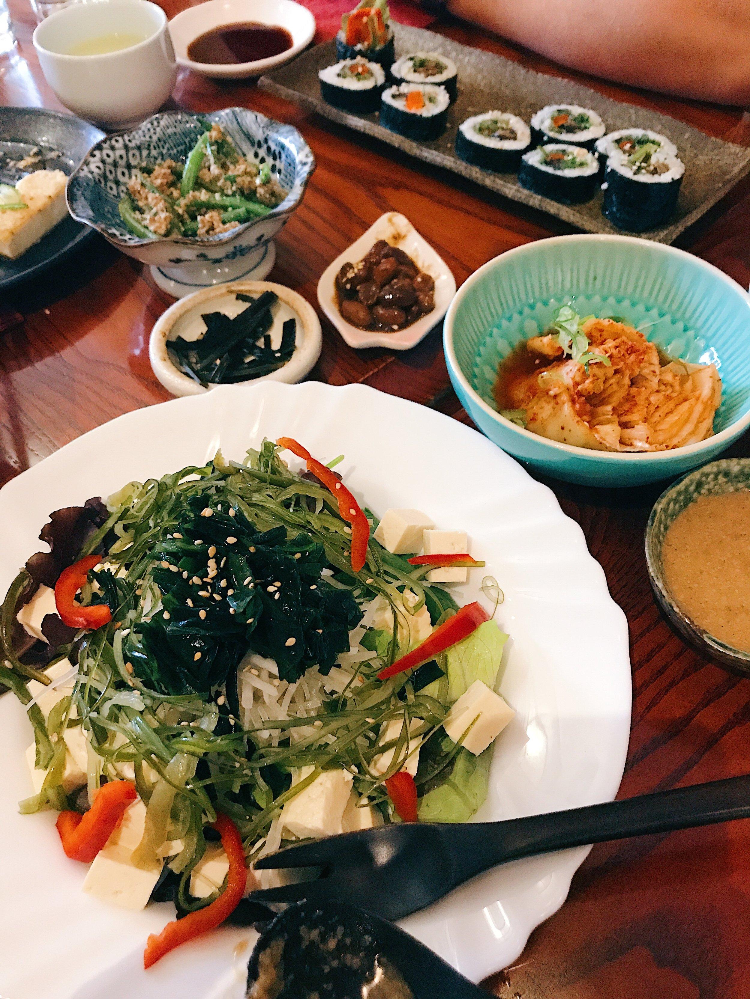 Seaweed salad, kimchi,