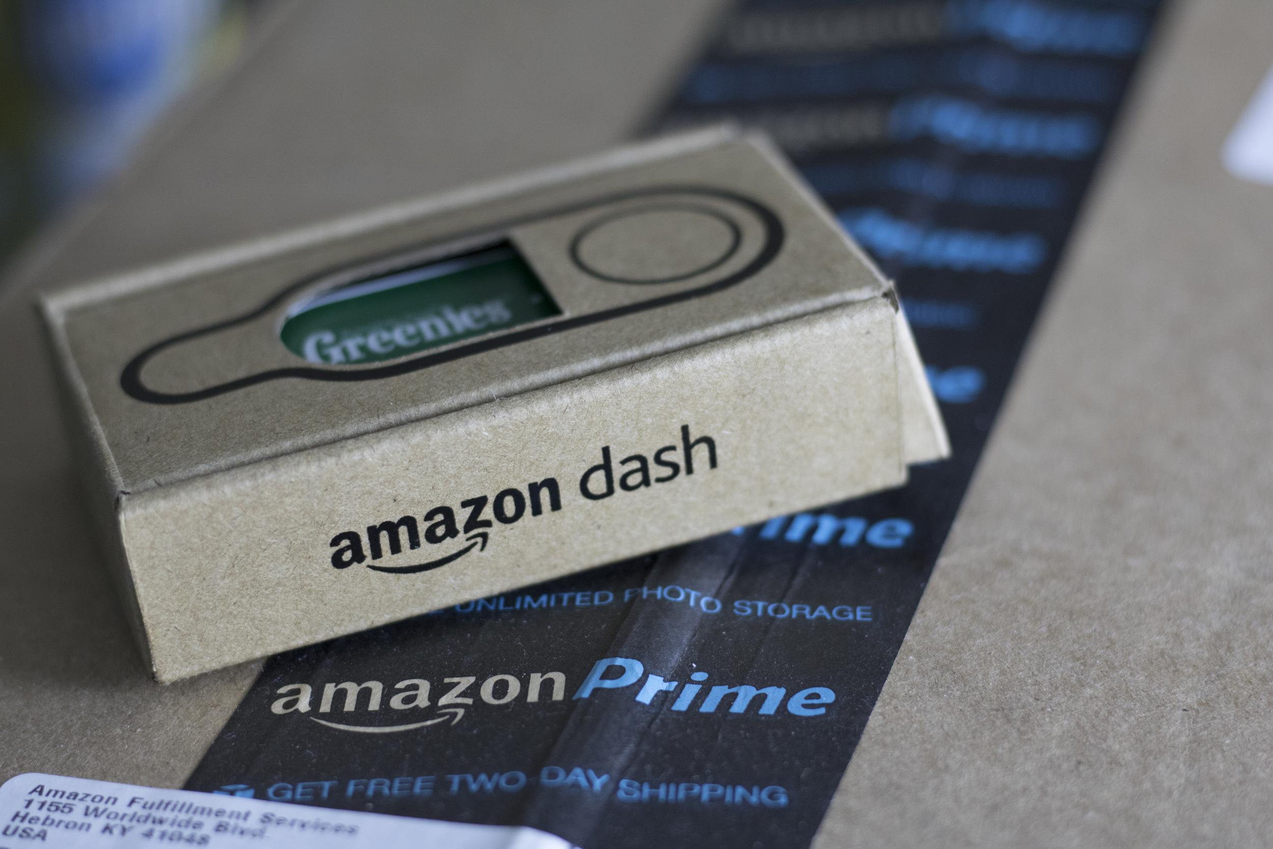 Amazon Dash Button on top of an Amazon Prime Box