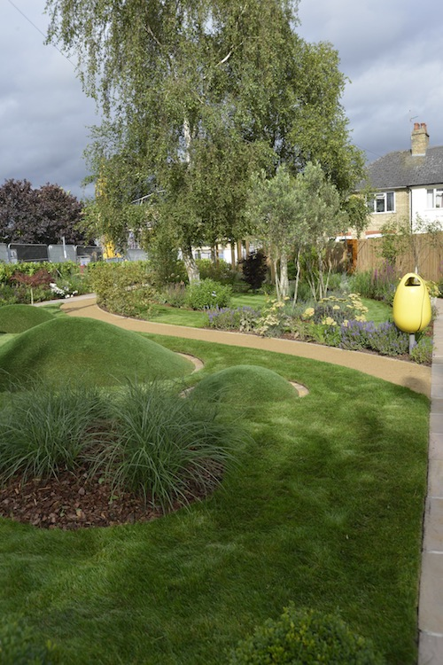 Transformation of a vacant town lot into a sensory garden, encouraging the public to explore and interact with the tactile elements of a designed landscape  Project designed while employed at Sylvia Newman Garden Design