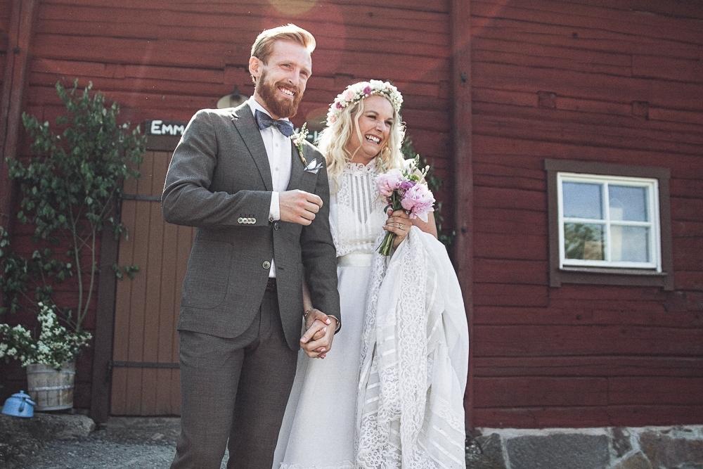 Lantligt och bohemromantiskt bröllop: Emma och Niklas