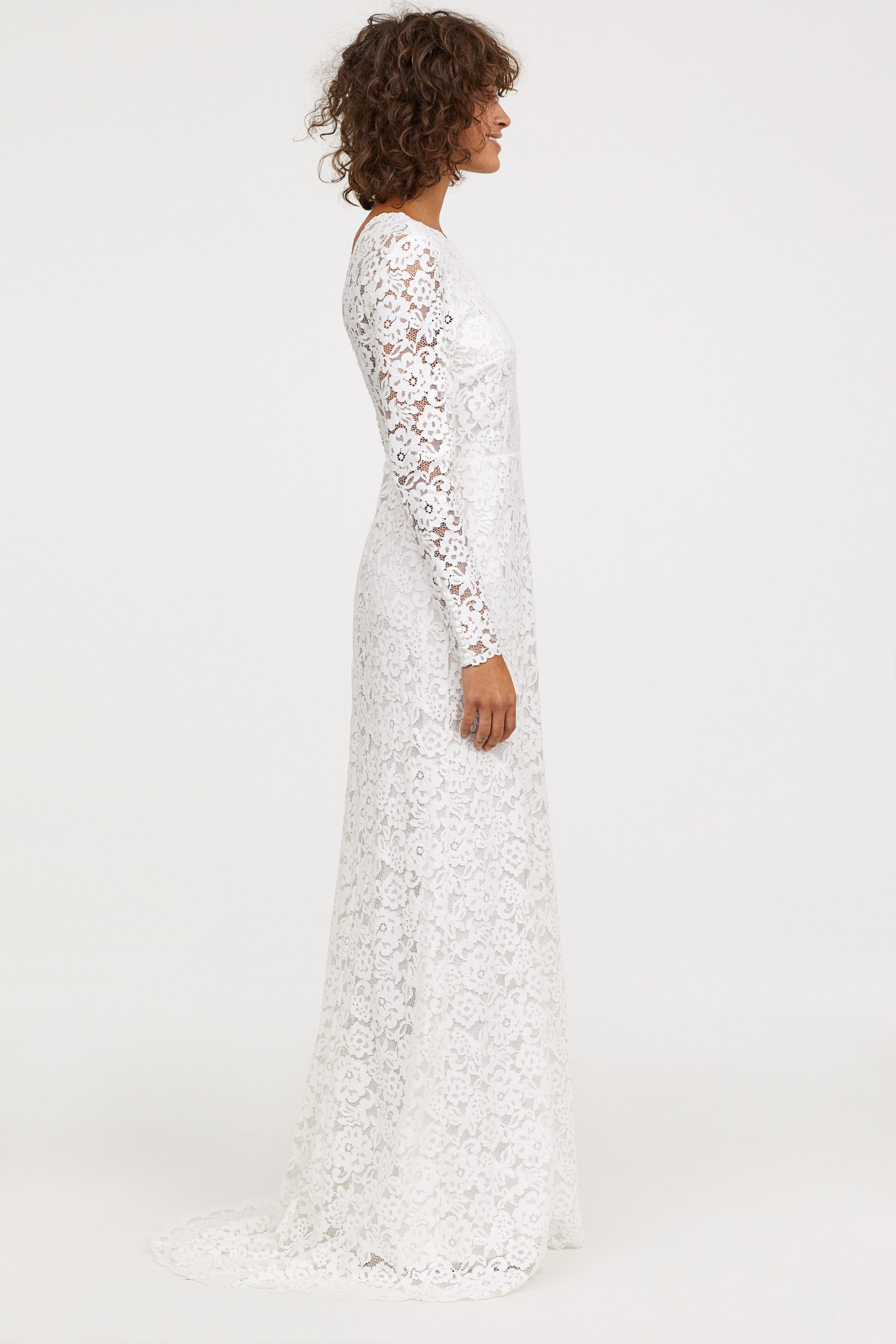 Långärmad spetsbrudklänning , H&M
