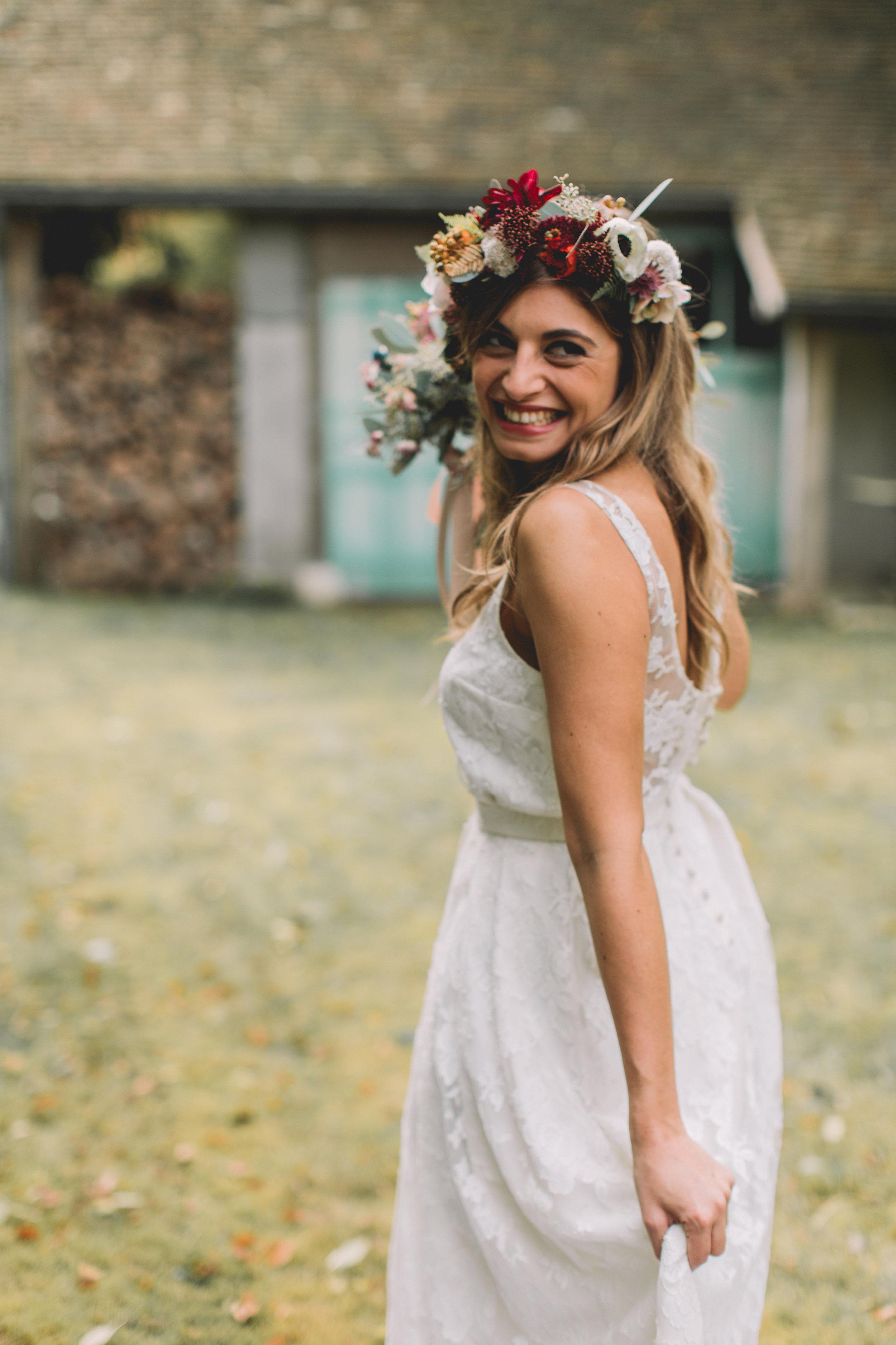 bröllop+boho+höst+brudbukett+brudklänning