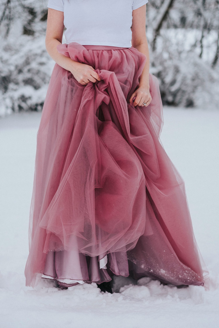 Berry Pink Tulle Skirt , Ellen Marie Bridal by Sisters in Law