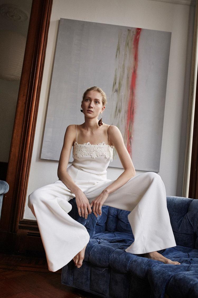 Lace Trim Wool Jumpsuit