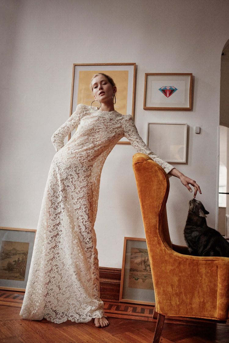 Long Sleeve Wool Lace Gown