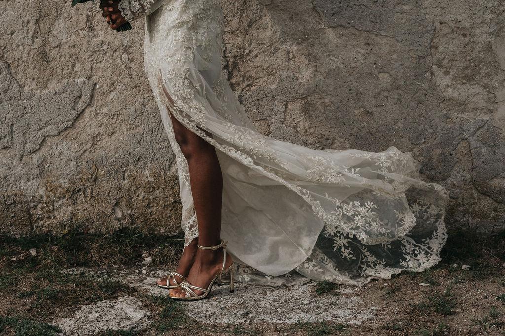 Brudklänning spets bohemisk