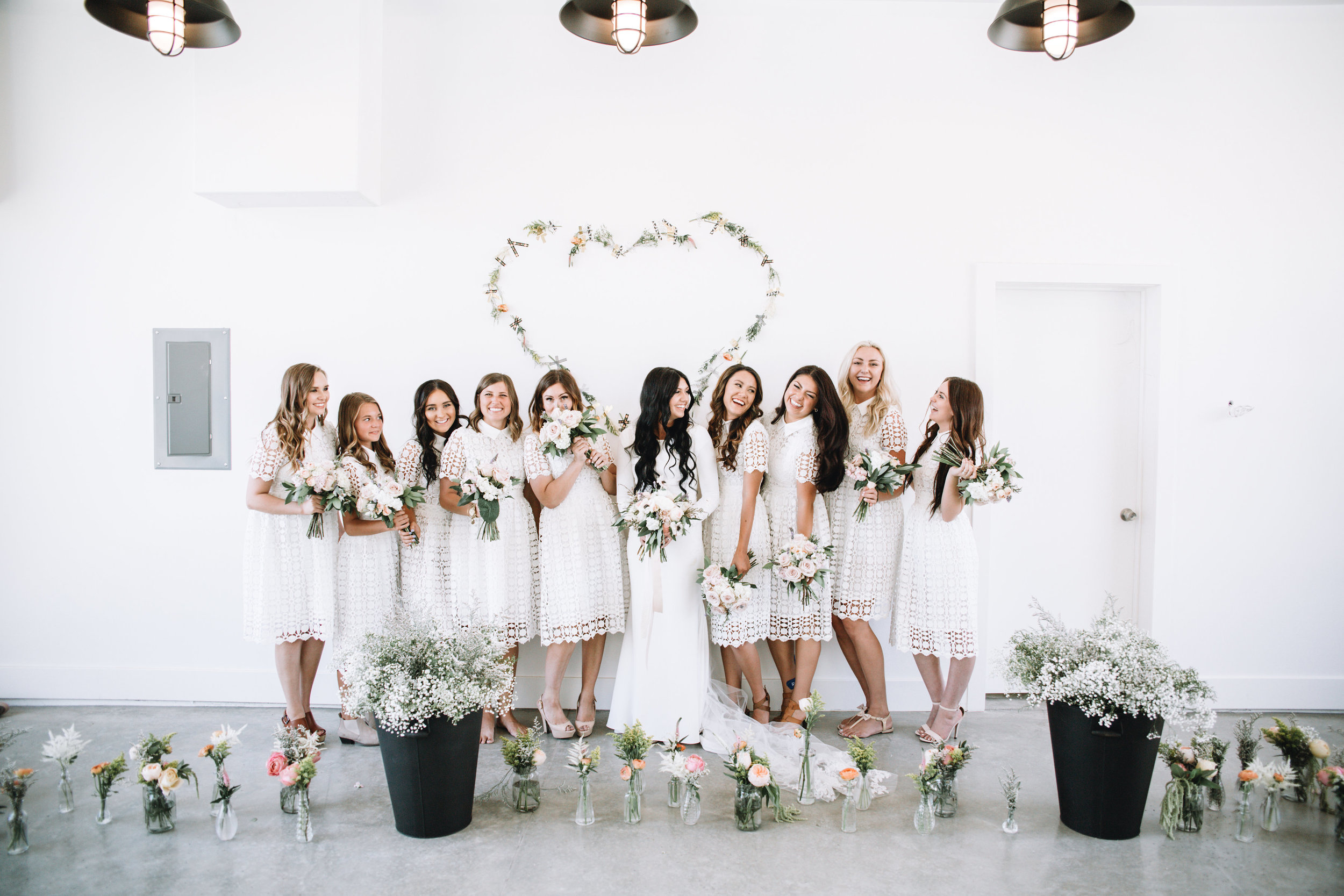 Bride + bridesmaids + white dresses