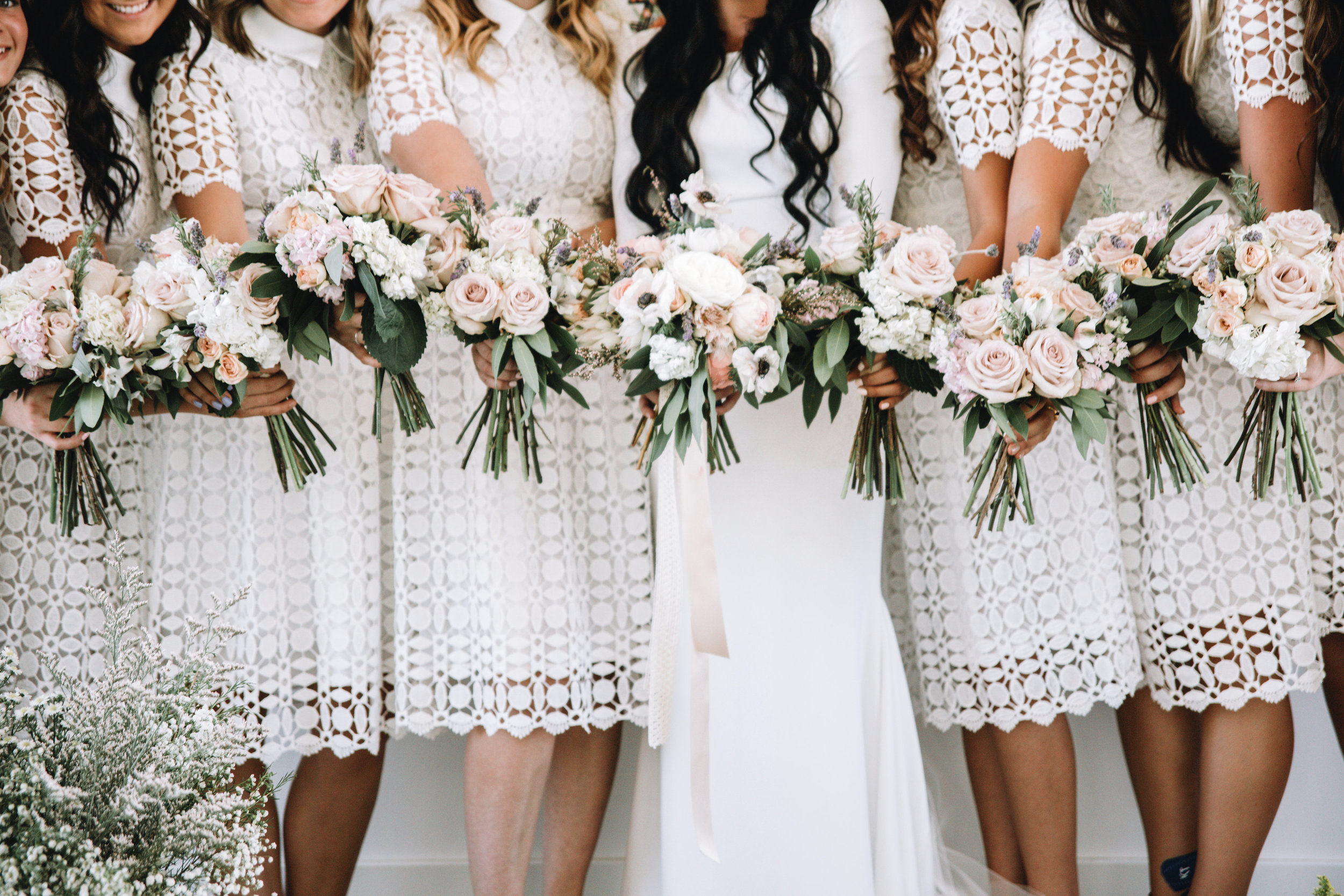 Bridesmaids dresses in white and lace
