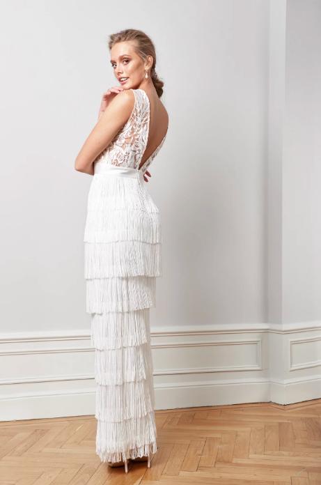 Brudklänning med fransar , By Malina