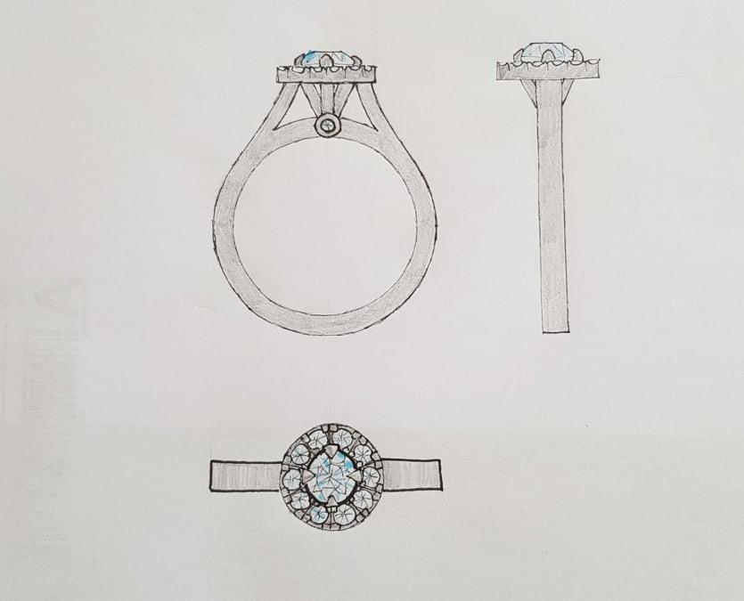 Efter kunden berättat vad hon var ute efter gjorde jag denna skiss! Därefter gjorde vi lite ändringar och sedan satte jag igång att tillverka ringen.