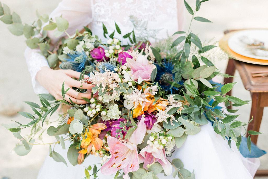 Stor brudbukett olika färger
