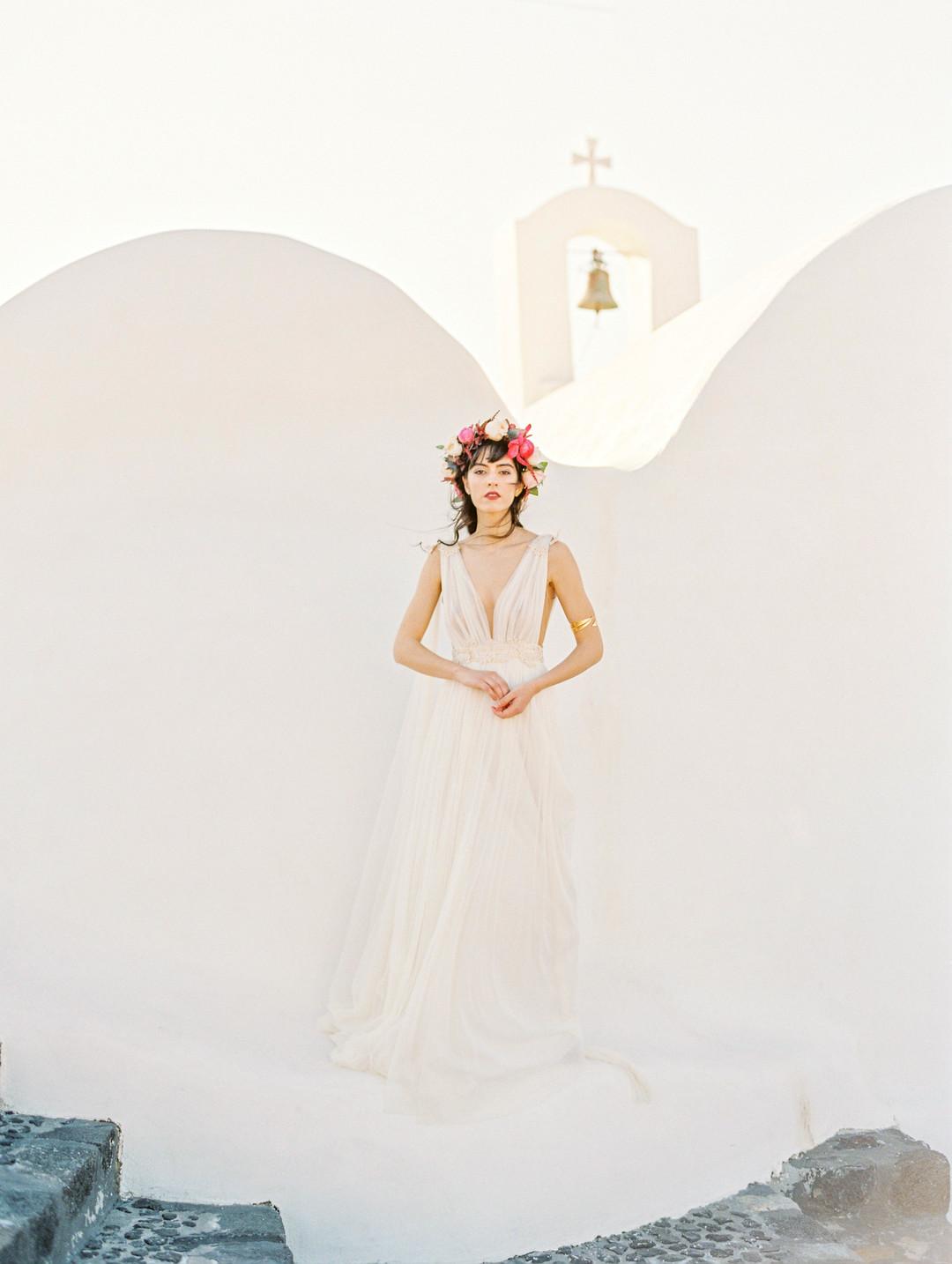 Brudklänning santorini bröllop