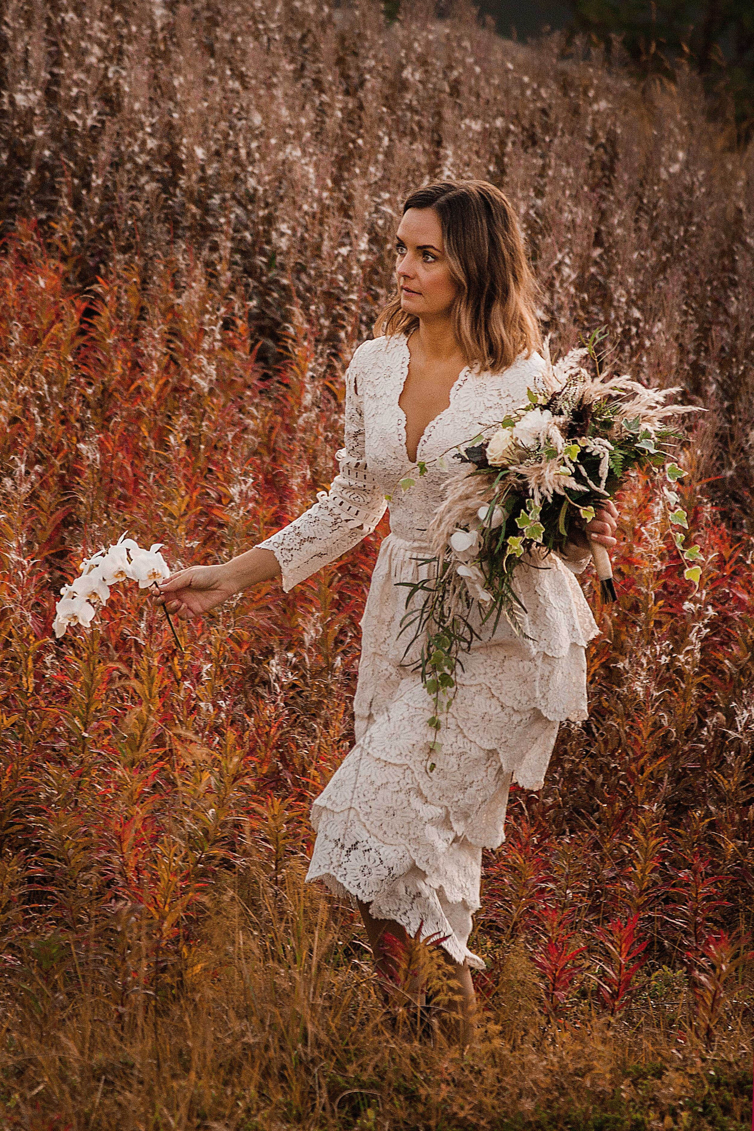 This lace dress was made for the workshop and do not belong to our own brand. But if you are interested in the dress it can be ordered in your own dimensions by emailing  kristina@sistersinlaw.se . The beautiful bridal bouquet is made by florist  @ine_holand  who works in Leknes, Lofoten.