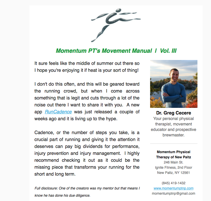 Momentum PT's Run Cadence Review