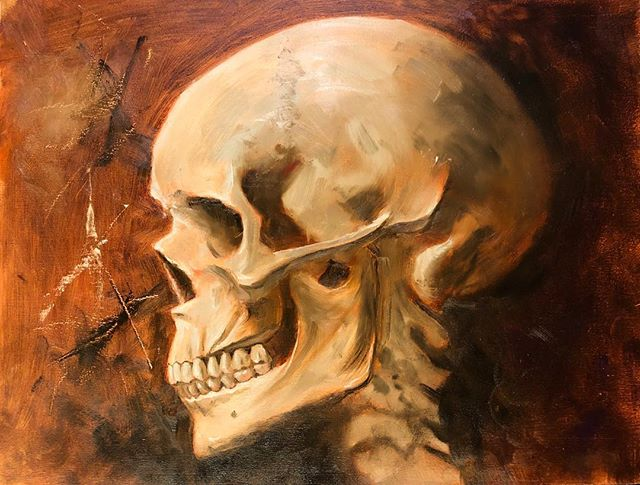 Skull study, Alla Prima oil on wood panel primed with oil ground. I'm very very happy how this came out. About half way through I almost gave up when I got frustrated with the color palette I was trying. But I persevered and it paid off. I'm not quite done yet. I just need to get some rest so I can put the finishing touches on it with fresh eyes. If anyone is interested in this it will be for sale after it dries and I varnish it. You know what to do. . . . . . #oilpainting #skull #skullstudy #anatomy #anatomyart #skullart #oilonpanel #painting #art #instaart #artist #instaartist #practice #tranparentearthred #cobaltviolet #viridian #maganeseblue #chromaticblack #titaniumzincwhite #gamblin #gamblincolors #trekellartsupplies #trekellbrushes #allaprima #wetonwetpainting #wetonwet
