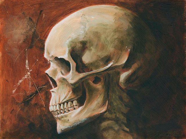"""The final product of that skull study. Varnished, scanned and color corrected to match the real life experience. Oil on wood panel, 12x16"""". . . . . . #oilpainting #oil #skullstudy #skull #art #painting #fineart #rochesterny #rochesterartist #anatomy #skeleton"""