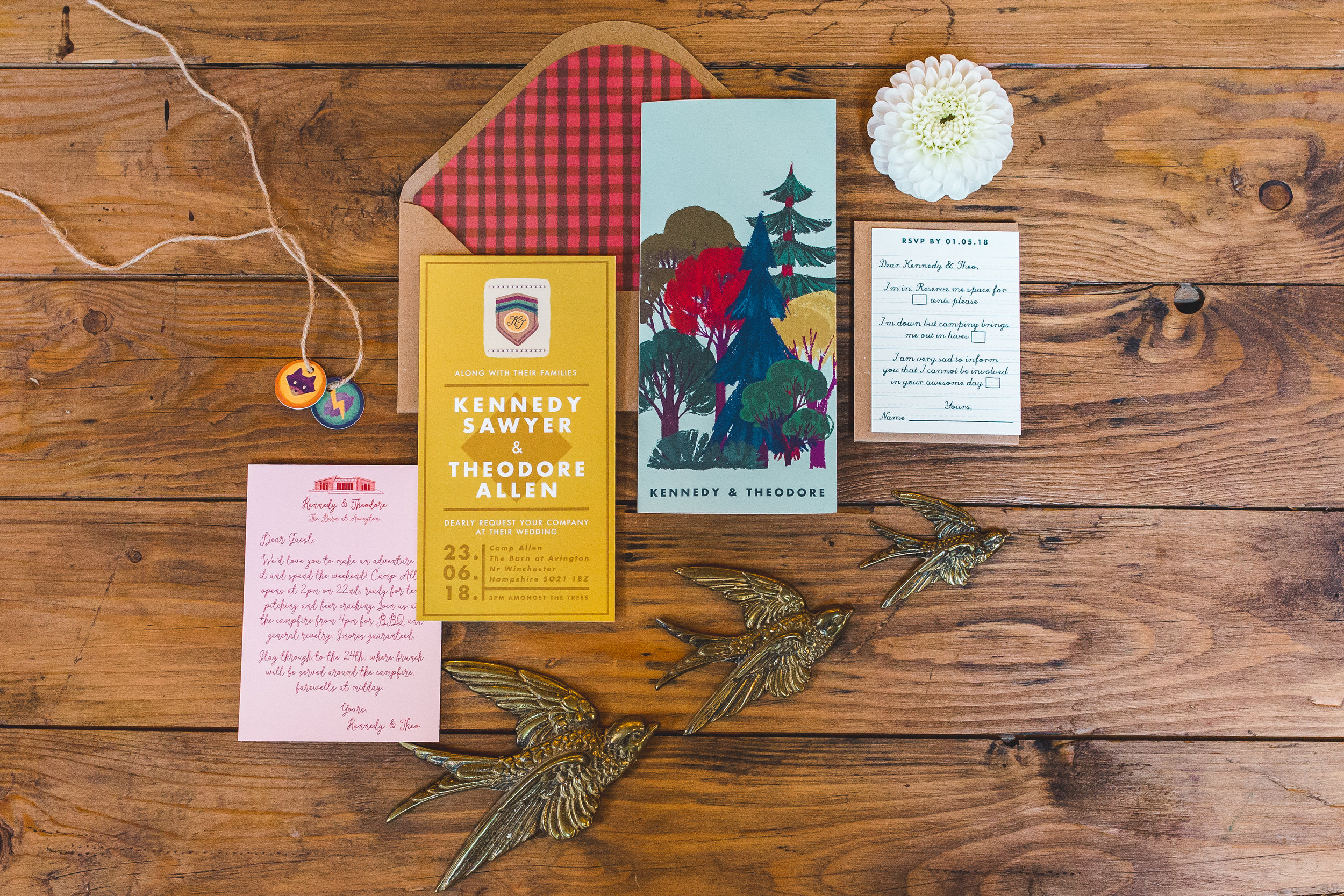 Wes Anderson inspired wedding stationery by  White Cottage Weddings . Photo by  Kirsty Mackenzie .