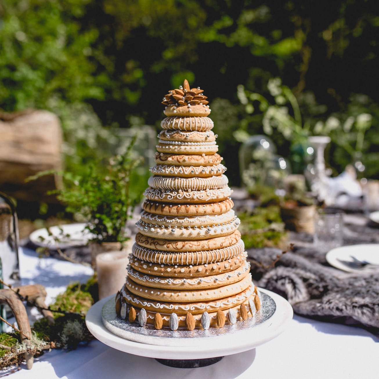 TRADITIONAL NORWEGIAN KRANSEKAKE CENTREPIECE  Created for a Norse-themed photoshoot. (photo credit:  Maria Assia )