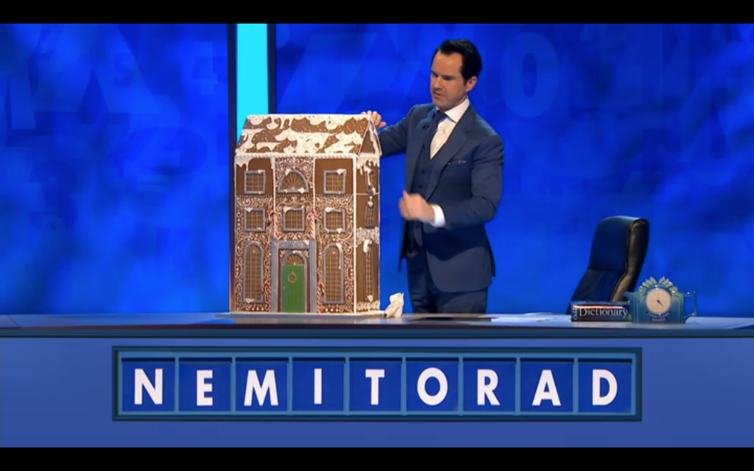 CHRISTMAS MANSION FOR 8 OUT OF 10 CATS DOES COUNTDOWN  Created a series of gingerbread houses in various stages for the 30-second countdown segment of the show where Jimmy appears to be building a simple house before the final reveal of the mansion. (image copyright: Zeppotron Media/Channel 4)