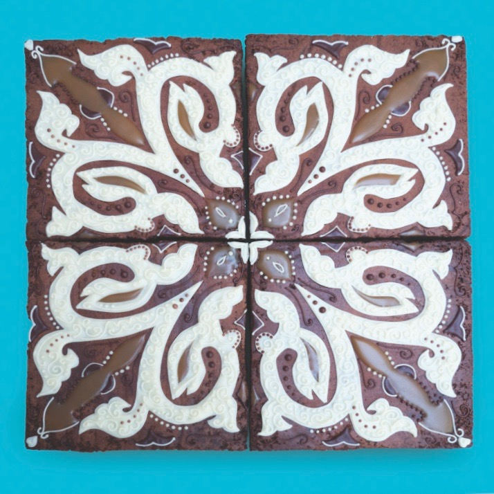 CHOCOLATE BROWNIE FLOOR TILES FOR ZIZZI  A series of decorative 'tiles' for Zizzi's spring menu launch.
