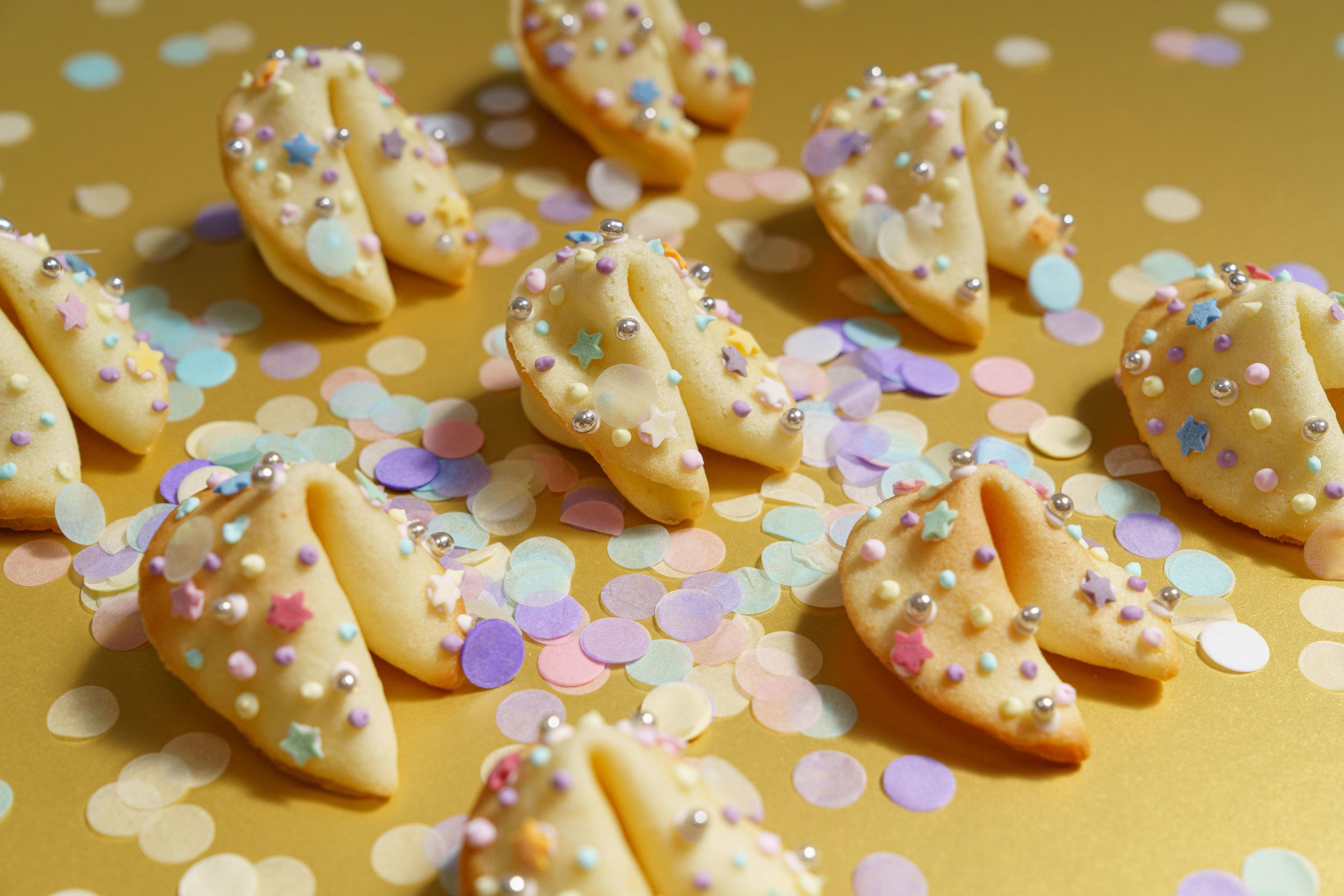 confetti fortune cookies pastel