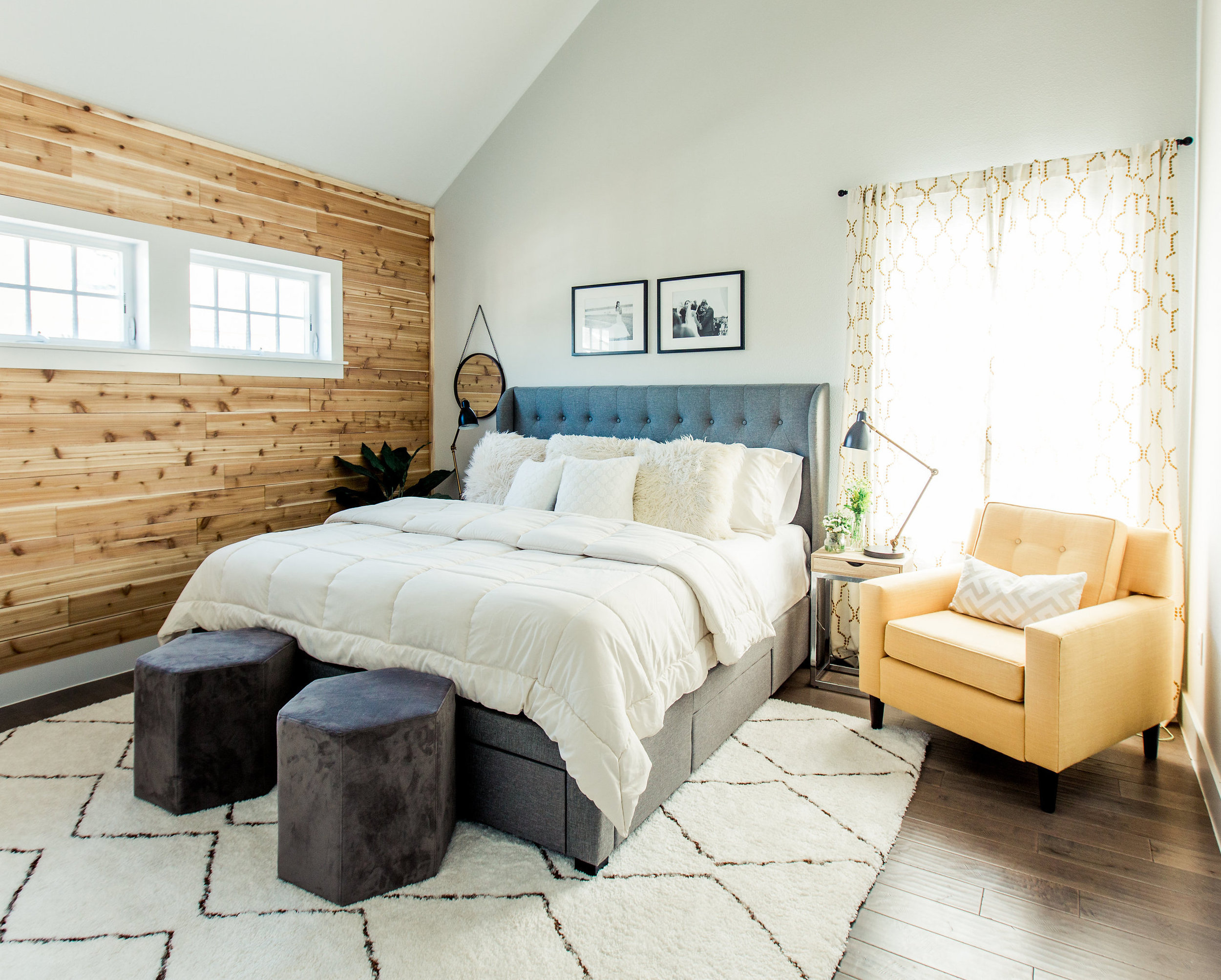 The bed, side tables, and side chair in my    Urban Rustic Retreat    project all came from Wayfair.