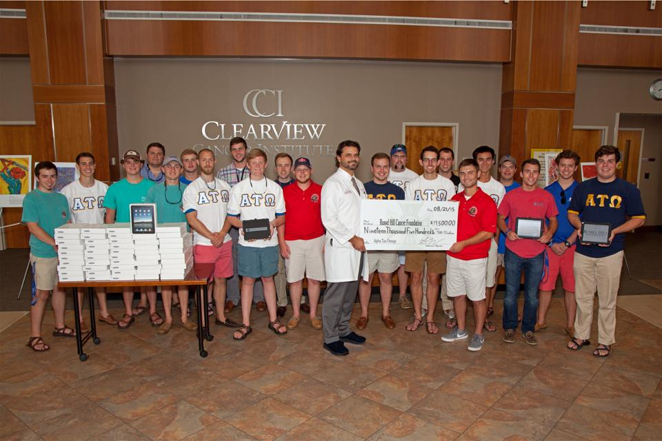 "The UAH ATO fundraiser, 2015 Battle of the Buffalo, raised more than $19,000 for the Russel Hill Cancer Foundation. Battle of the Buffalo was started in the spring of 2009 in memory of their fraternity brother Paul ""Fish"" Salmon who passed away from leukemia in 2007.  With the proceeds from this fundraiser Russel Hill Cancer Foundation purchased 100 Ipads for Cancer Patients to use while undergoing treatment at Clearview Cancer Institute.  ""These young men are truly amazing,"" said Carol King of Russel Hill Cancer Foundation. ""They care about the people in the community and want to make a difference for those who are affected by cancer."""