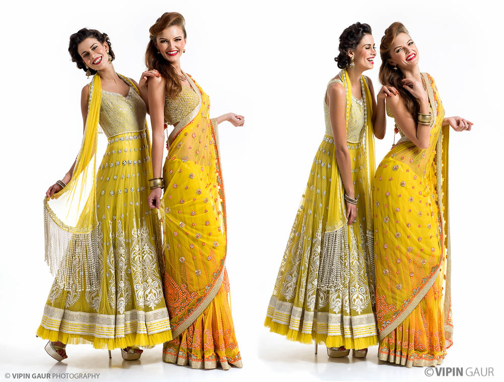 Girls dazzling in yellow Indian wear