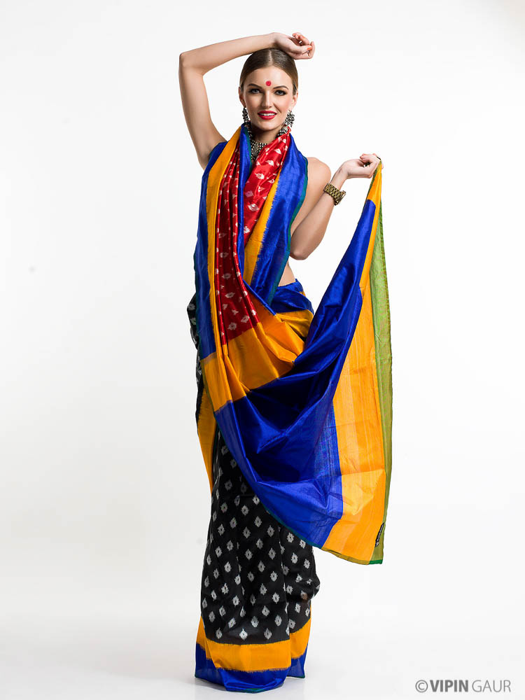 Multi coloured sari wrapped stylishly