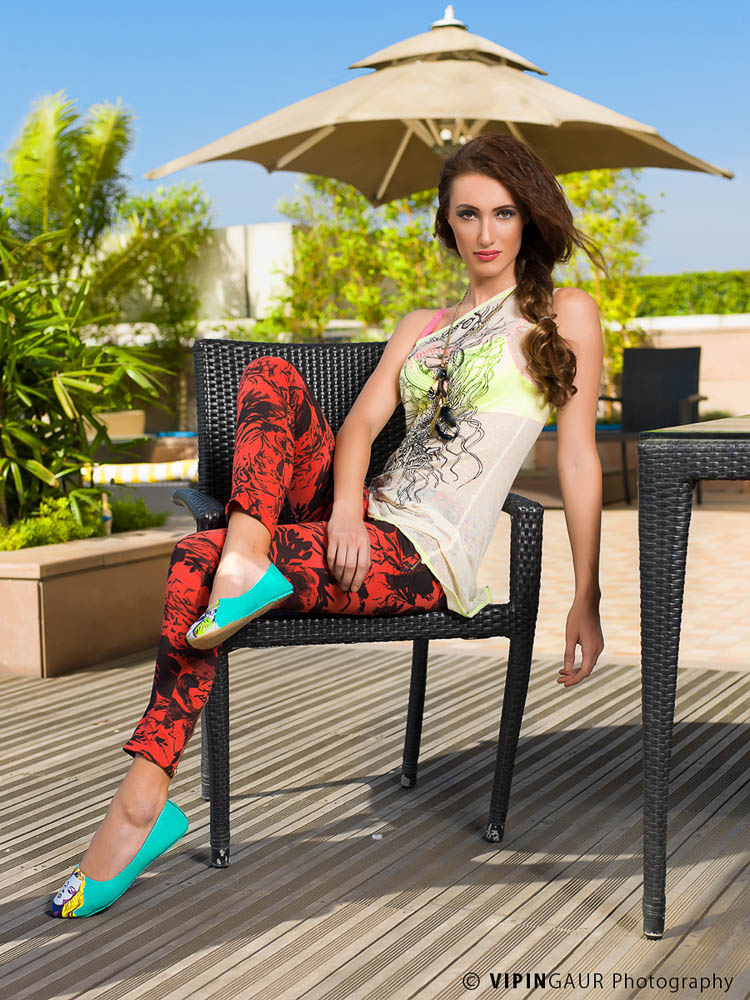 Fashionable and stylish pose on the chair
