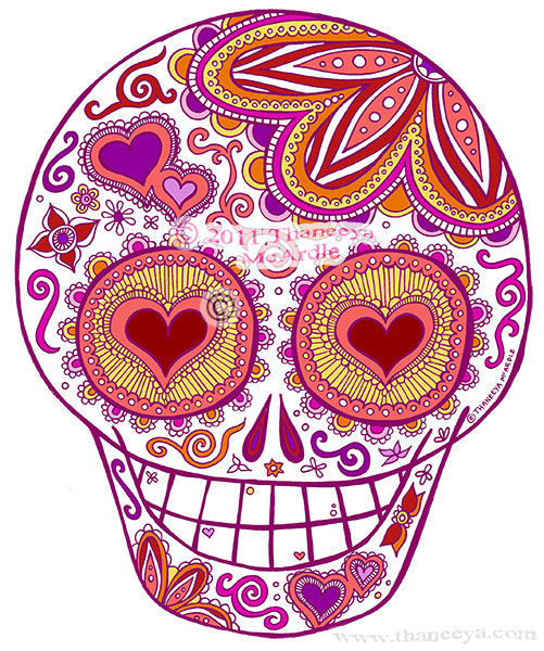 Sugar Skull Heart Eyes by Thaneeya